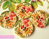 Wood buttons 30 mm- Painted Wooden Buttons 4pcs- Big Round Button- Floral Design / Flower Pattern