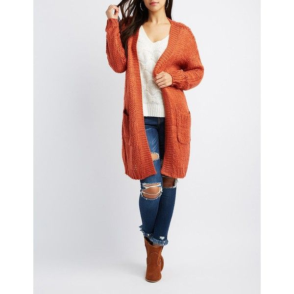Charlotte Russe Open Knit Duster Cardigan ($29) ❤ liked on Polyvore featuring tops, cardigans, rust, long white top, short-sleeve cardigan, slouchy cardigan, open front cardigan and ribbed cardigan
