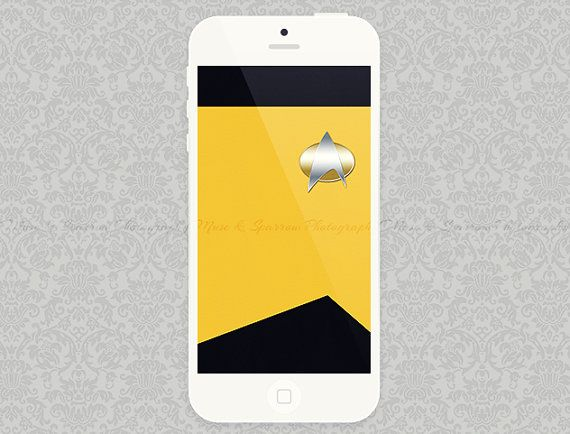 iPhone 5 Wallpaper - Yellow Star Trek Minimalist Artwork | INSTANT DOWNLOAD | Digital File | Esty