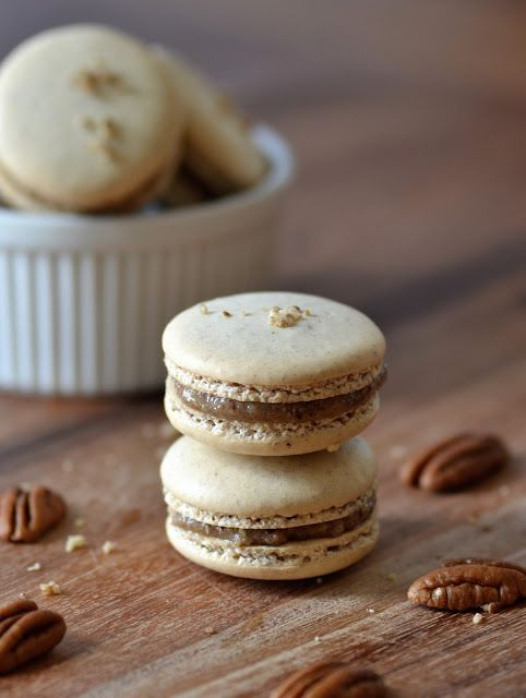Pecan Macarons | Building Buttercream  I had only known of coconut macaroons for years and really like them. Then I tried a French Macarons on a trip to New Orleans.  I have a new favorite.  They are like fluffy clouds that burst with pecan flavor,  and I love love love pecans. That's why I haven't been able to try any of the other flavors.