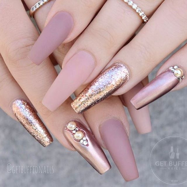 nail art with glitter   coffin   gold   gel polish   acrylic   pink   shapes 