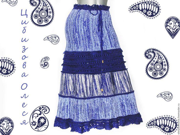 """Купить Вязаная теплая юбка """"Синий лед"""" - синий, абстрактный, юбка, вязаная юбка"""