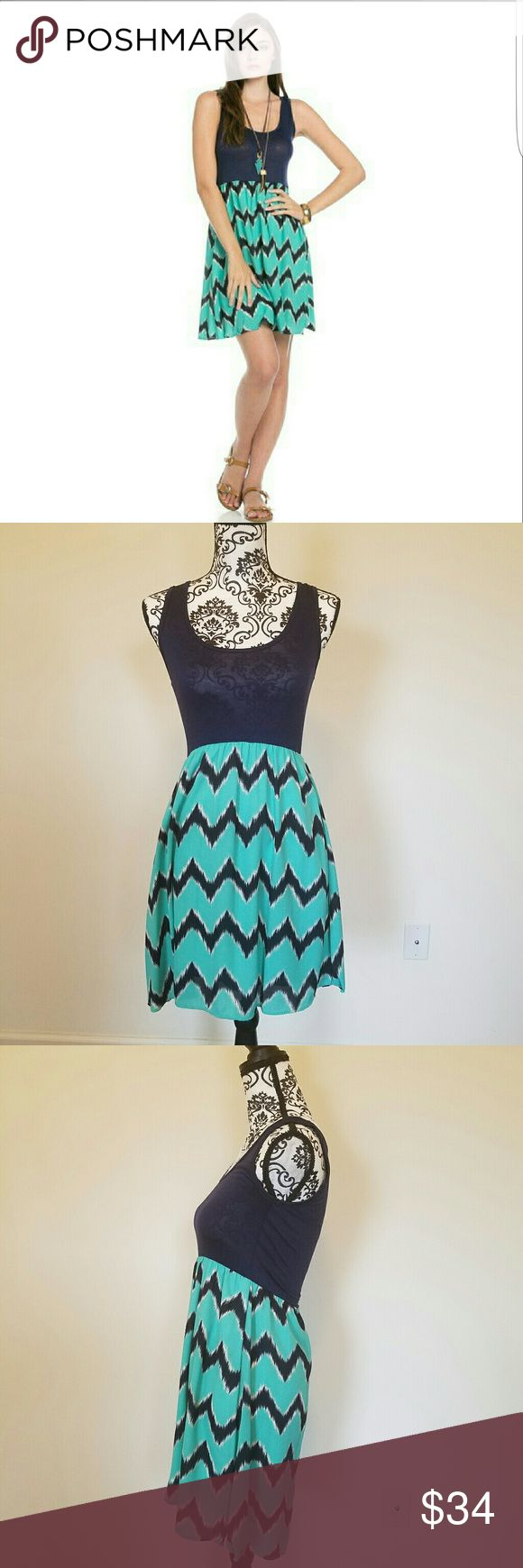 Sleeveless Navy and Mint Chevron Dress Sleeveless solid top contrast Chevron dress  Material: 100% Polyster Blossom_pm Dresses