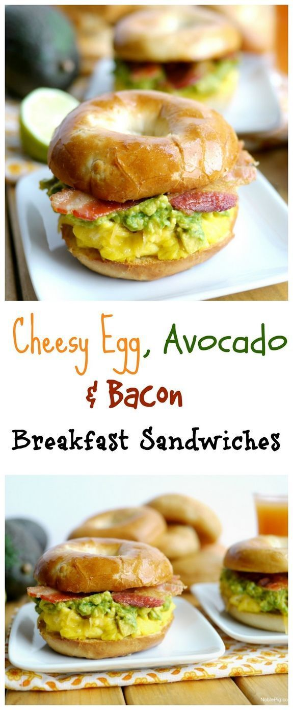 Cheesy Egg Avocado and Bacon Breakfast Sandwiches are great way to start the morning from NoblePig.com.