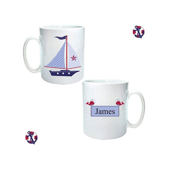 Personalised mug ship ahoy nautical design sailing by cjcprint