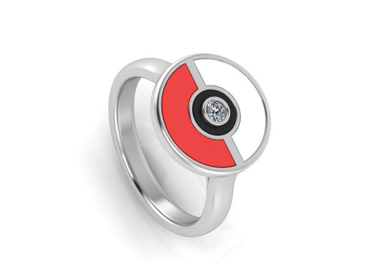 Pokeball Ring, Pokeball Diamond Ring, Pokeball Rings in Sterling Silver and Enamel, Pokemon Go Ring by jewelrybyjohan on Etsy https://www.etsy.com/listing/454771632/pokeball-ring-pokeball-diamond-ring