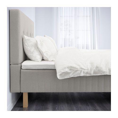 BEITSTAD Säng med huvudgavel - Songli medium fast/Tromsdalen naturfärgad, 180x200 cm, Burfjord - IKEA