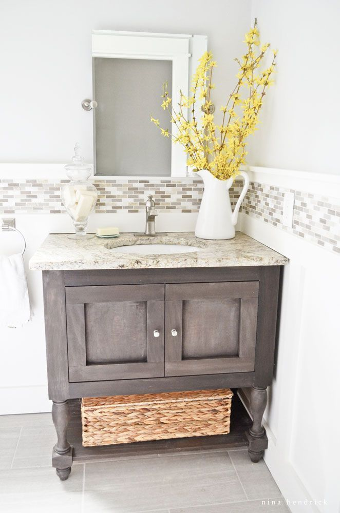 Cottage Powder Room- Modern Farmhouse Home Tour   Nina Hendrick Design Co.   Follow along as a 1980s colonial fixer upper gets a complete DIY makeover and is renovated to reflect modern farmhouse charm. #farmhouse #farmhousedecor #modernfarmhouse #homedecor