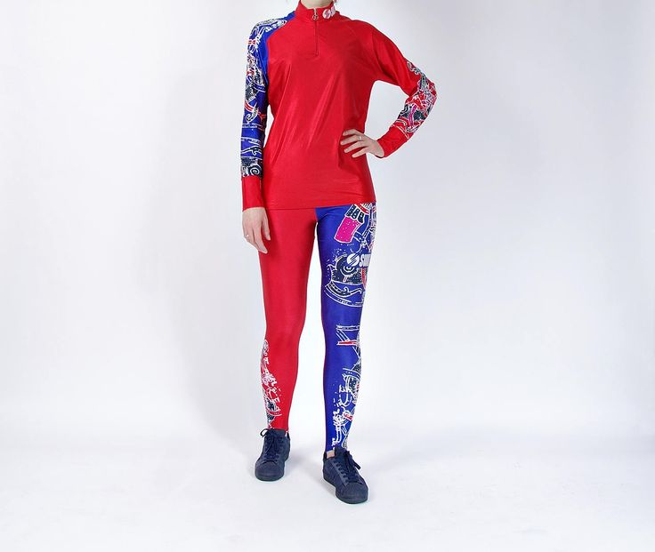 80s SWIX Red Blue Stirrup Sportswear Suit Made in Italy / Size L by Only1Copy on Etsy