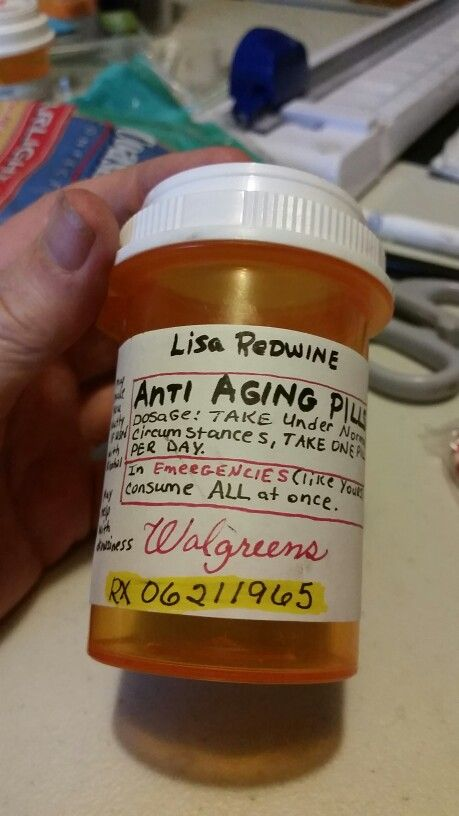 anti aging pills for sisters 50th birthday.  filled with m&ms and I even had a Barcode on side
