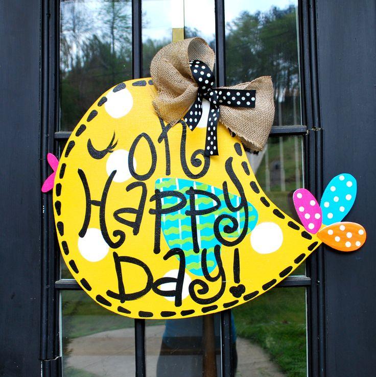 Door Hanger Wreath Summer Door Wreath by LooLeighsCharm on Etsy, $45.00