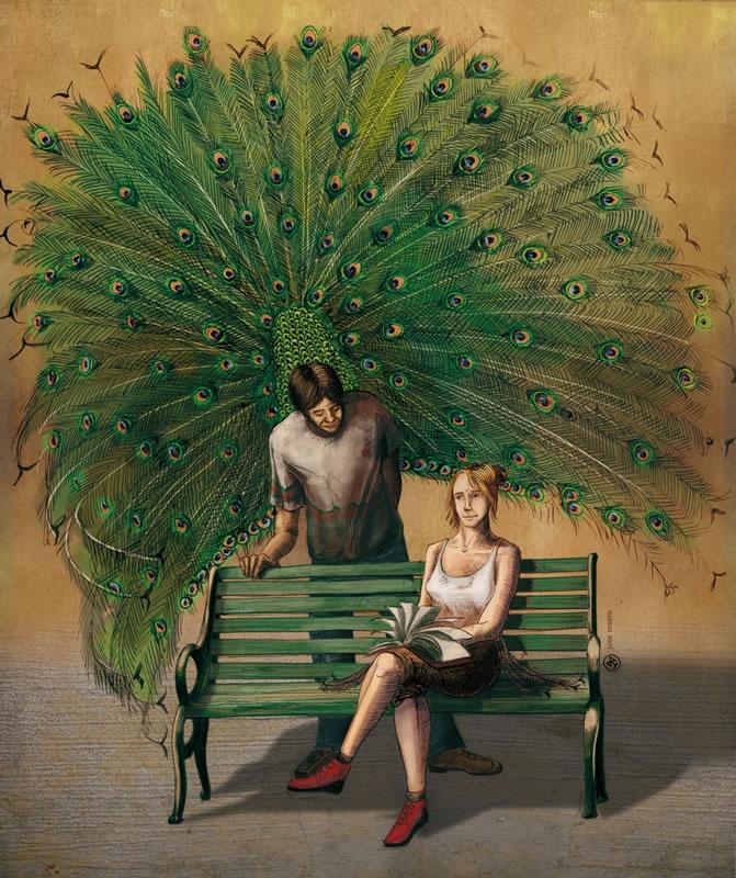 Jose Rosero. Books trump feathers.