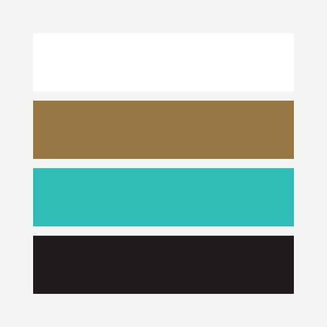 white, gold, turquoise, black