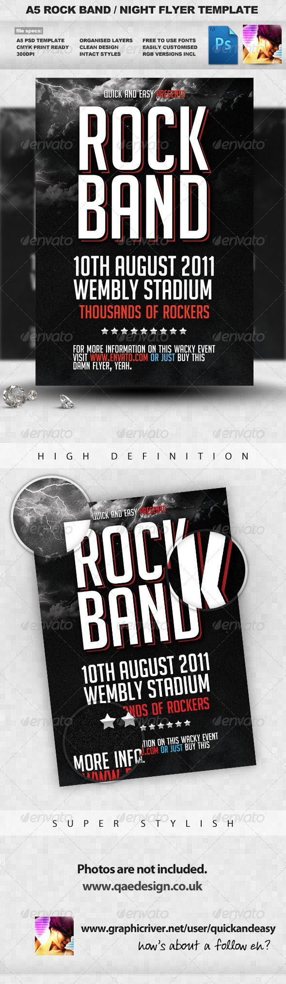 Rock Band Flyer Template  #GraphicRiver                    3 Layout Rock & Dan…