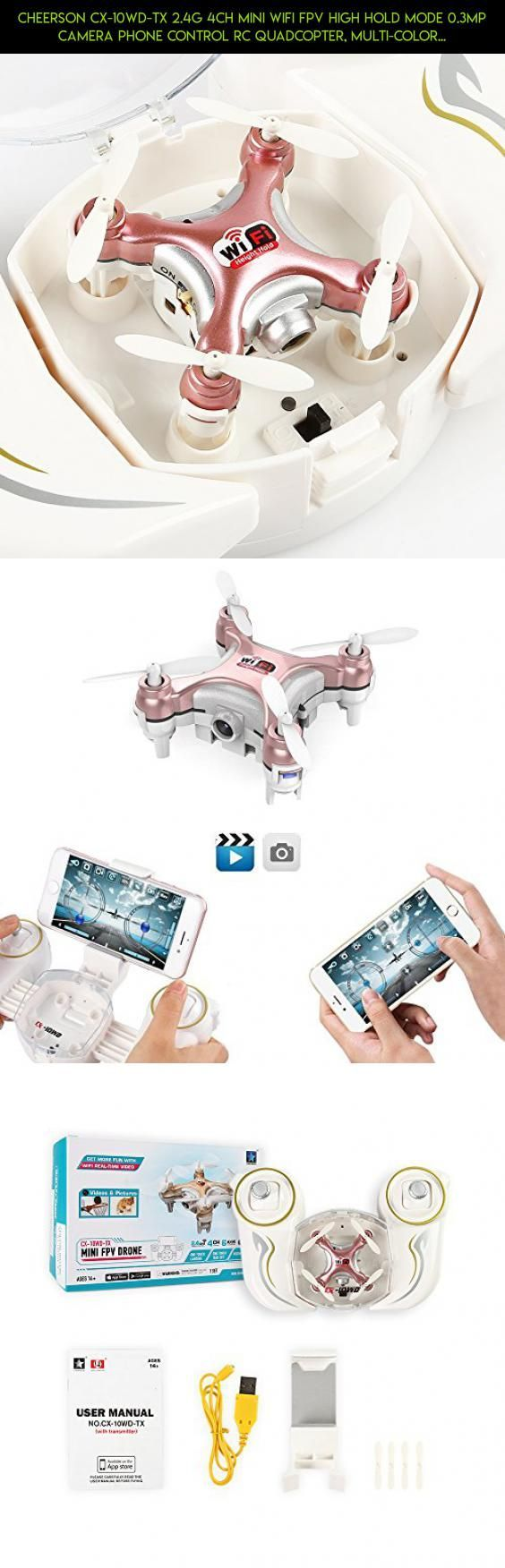 Cheerson CX-10WD-TX 2.4G 4CH Mini Wifi FPV High Hold Mode 0.3MP Camera Phone Control RC Quadcopter, Multi-color LED Lights One Key Take Off/Landing, Dual Operating Mode (Rose) #tech #kit #drone #camera #gadgets #parts #plans #fpv #technology #racing #shopping #products #cheerson #10wd