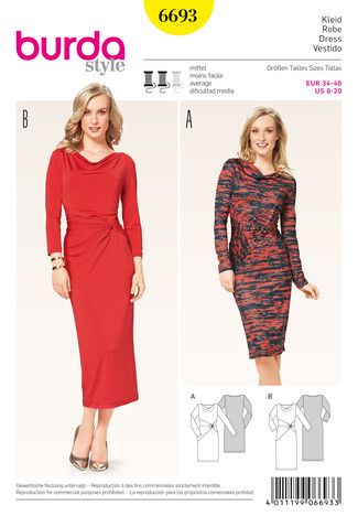 Schnittmuster: Kleid – Shirtkleid – Wasserfall – Knoteneffekt - Schnitte Katalog - burda style