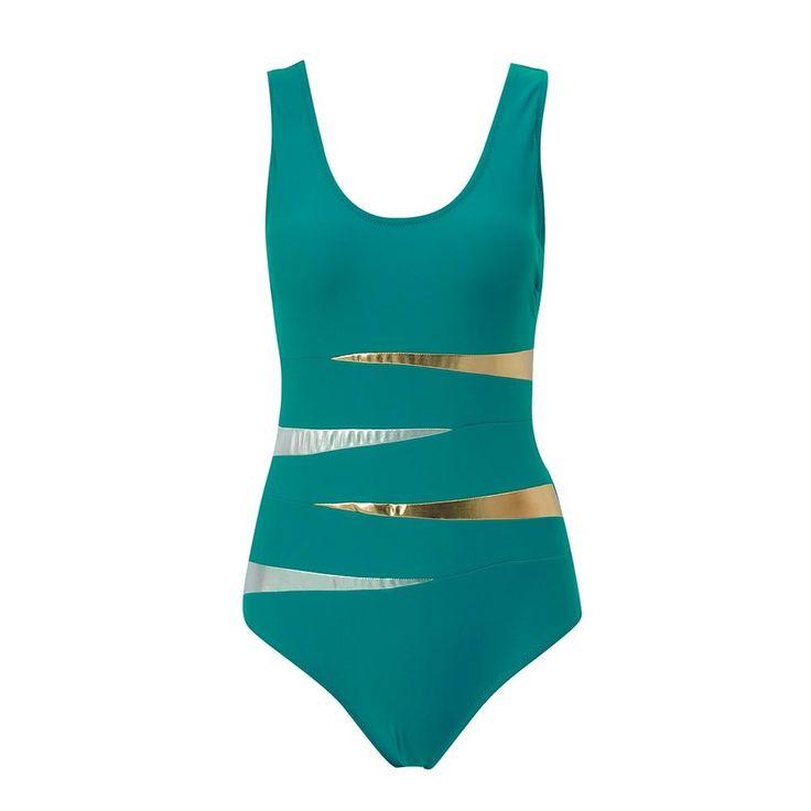 4XL Plus Size Swimwear Solid Bling Gold Swimwear 2018 One Piece Swimsuit Women Vintage Retro Bathing Suits Monokini Swimsuit