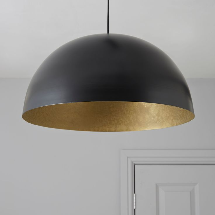 Kapsel Dome Black Pendant Ceiling Light | Departments | DIY at B&Q