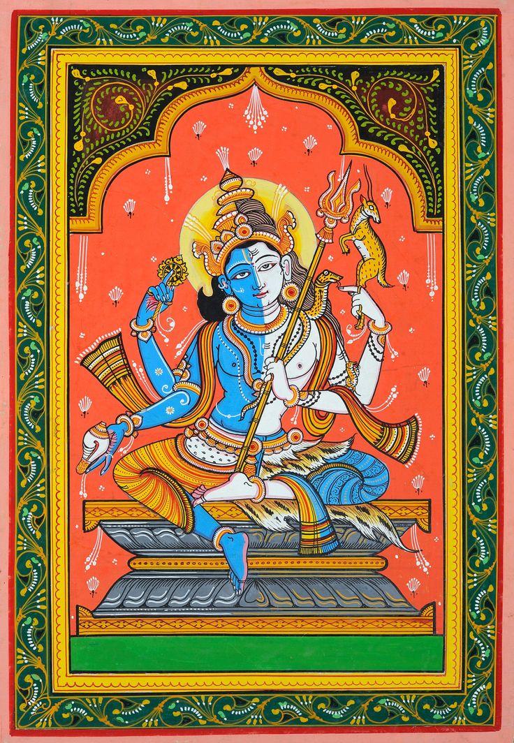 Kala Ksetram, Harihara, Vishnu and Shiva united, pata painting...