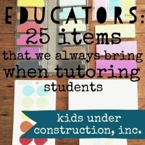 Kids Under Construction: 25 items that we always bring when tutoring students. I am absolutely in love with my Thirty-One Organizing Utility Tote!
