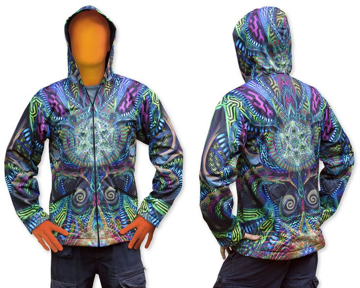 Sublime Hooded Jacket : Primordial Presence. Printed using sublimation printing on a high quality polyester fleece. This allows for extremely vibrant colors that will never fade away and results in an extremely soft 'feel' to the jacket, providing ultimate comfort. Fully lined with black fabric. 2 outside zip pockets and 2 inside zip pockets. Secret stash pocket label ! Not printed with UV inks, but printed on UV active fabric, so there is some effect under the blacklight. Artwork byHakan…