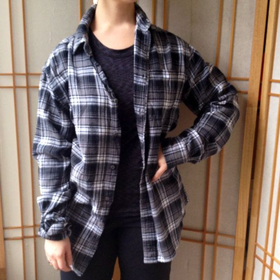 """Size medium grey black flannel shirt, Croft & Barrow. Soft, excellent condition.  22 pit to pit  30 back length  Dear Customer, thanks for stopping by our shop for a visit. If you want to ask a question just click on """" Ask a Question """" box up in the right hand corner of our page. Your input is always welcome. Connie, Kelly and Twinkie  See more vintage items below:  https://www.etsy.com/shop/DigginForTreasure?ref=hdr_shop_menu   https://www.etsy.com&#x2F..."""