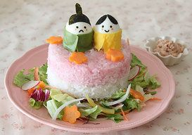 ひなまつりの3色サラダライスケーキ