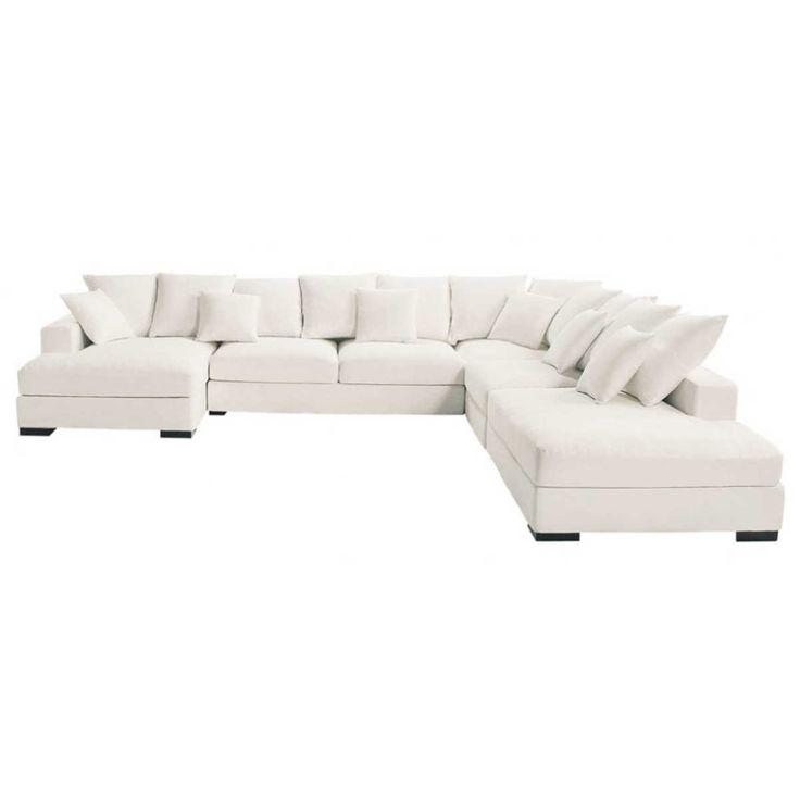 Sofá esquinero modulable de 7 plazas de algodón marfil Loft