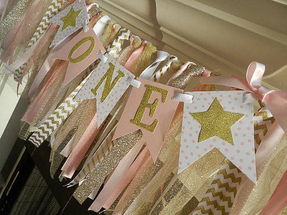 Pink and Gold First Birthday Banner ONE BANNER by APartyWithPaper