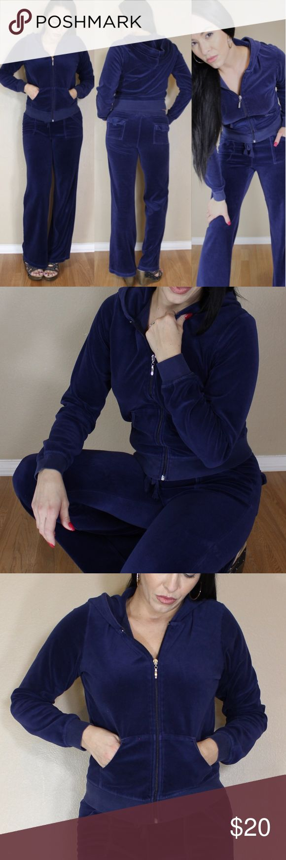"Velour Jumpsuits Sweats Hoodie Set Comfy cozy Womens Velour jumpsuit track suit set.  Comes with pants and zippered hoodie.  Pants are elasticized with a drawstring and pockets.  Hoodie has zippered front with pockets.  Royal Navy Blue.  Pre-owned in good condition.  Purchased at Hottie World.  Tags are worn however it is a size medium. pants: length 41""/ waist 15"" across    hoodie: length 20""/ bust 17"" across Hottie World Pants Jumpsuits & Rompers"