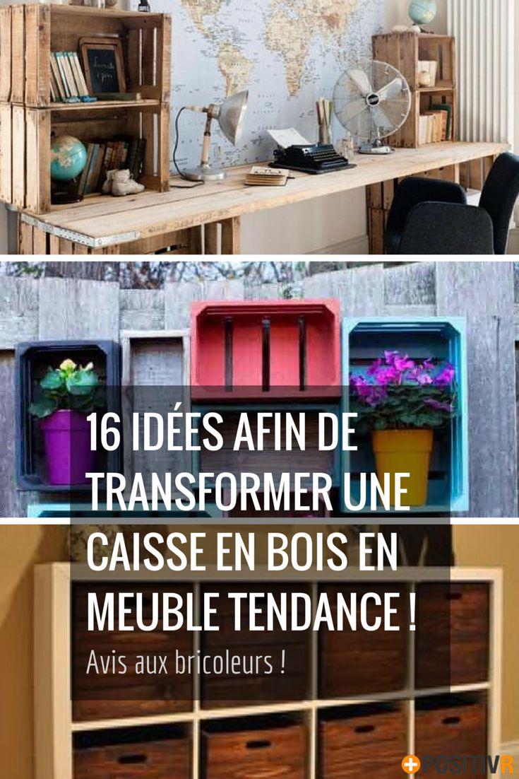 Vous avez des caisses en bois et vous ne savez pas quoi en faire ?! Voilà 16 idées vous évitant de les jeter. Et en plus vous aurez de super meubles ! #DIY #bricolage #caisses #meubles #bois