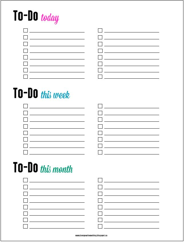 FREE To-do list printable: daily, weekly, monthly