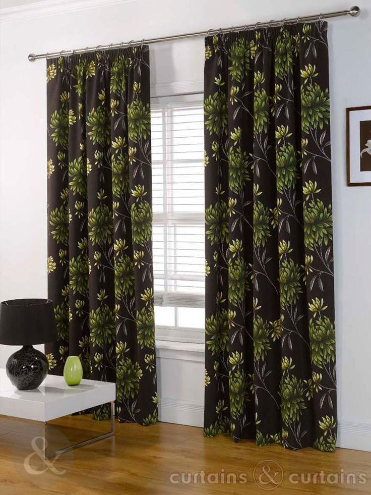 Hawaii Luxury Panama Green & Brown Pencil Pleat Curtain