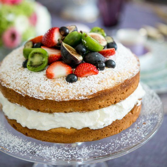 Sponge Cake w/Cream, Fruit & Berries- a cake of beauty & simplicity! Perfect for this Mother's Day!