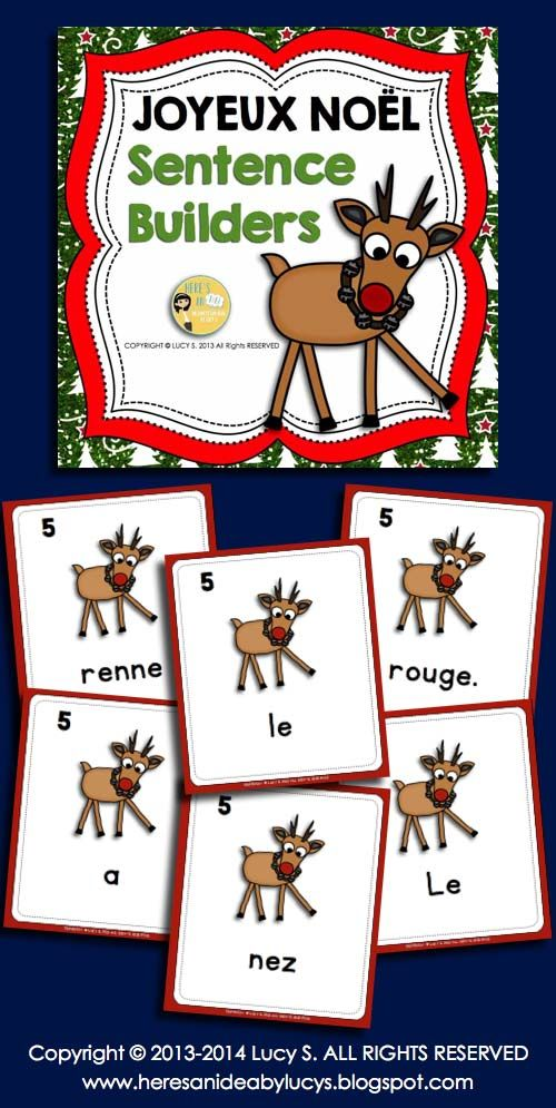 French Christmas Sentence Builders - Joyeux Noël - unscramble the sentences - great center or station activity for the holidays