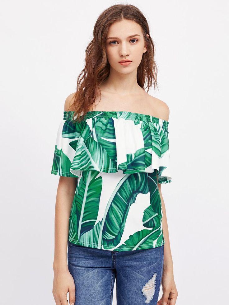 RZX Jungle Leaf Print Smocked Frill Bardot Top