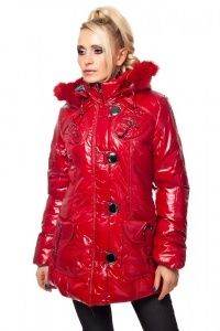 Parka Mantel mit Fell Kapuze in Lack Optik rot
