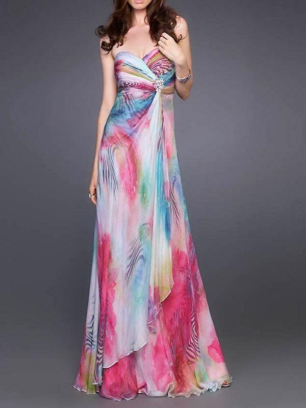 Chiffon Strapless Sweetheart Neckline Sleeveless Floor-Length Evening Dress