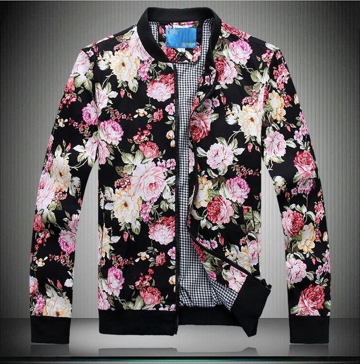 Куртки цветочный узор M-5XL куртка вложение копать сумки с длинным рукавом мандарин воротник v-образным вырезом свитер бейсбол мужчины цветочный принт