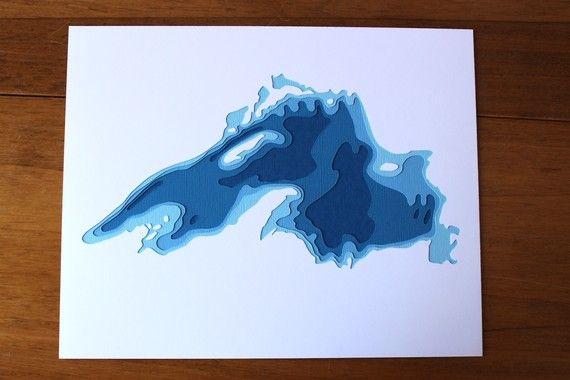Lake Superior original 8 x 10 papercut art от Crafterall на Etsy