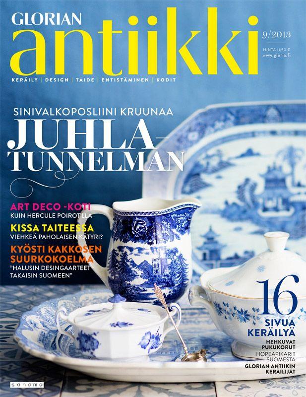 Magazine cover 9/2013.  Blue and white porcelain from Royal Copenhagen, Rörstrand and Arabia. Photo Tuomas Kolehmainen.