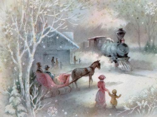 #1399 60s Pastel Glittered Railroad Train  Depot-Vtg Christmas Greeting Card