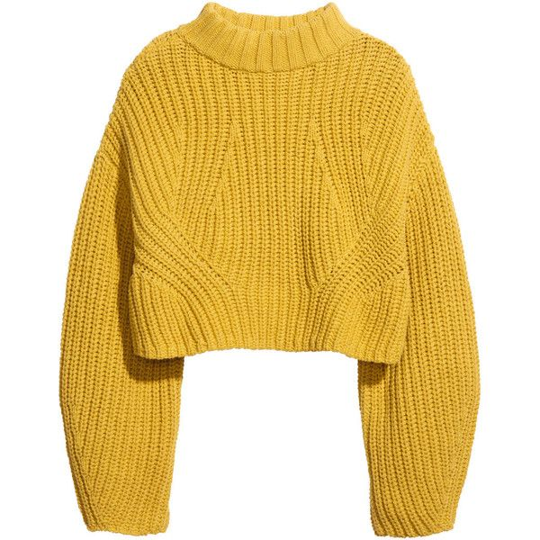 H&M Cropped jumper (2.290 RUB) ❤ liked on Polyvore featuring tops, sweaters, jumpers, shirts, yellow, longer sweater, h&m shirts, yellow sweater, h&m sweaters and long sleeve jumper