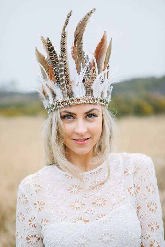 Wild Feather Headdress With Antique Gold Trim, Bridal Headdress, Boho Crown…