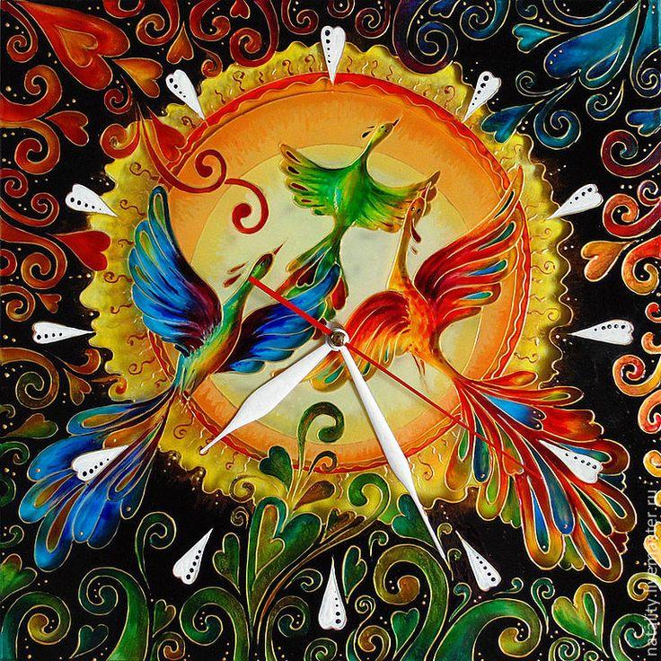 """Часы """"Счастье быть вместе"""" - часы настенные,часы настенные из стекла,часы интерьерные"""