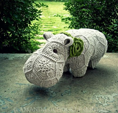 Free Crochet Hexagon Hippo Pattern : Perfect hippo by Amanda of Chalklegs Crochet - African ...