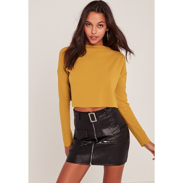 Missguided Yellow Crepe Wide Neck Crop Top ($26) ❤ liked on Polyvore featuring tops, mustard, crepe top, crop top, loose fit tops, loose fitting tops and loose fitting crop top