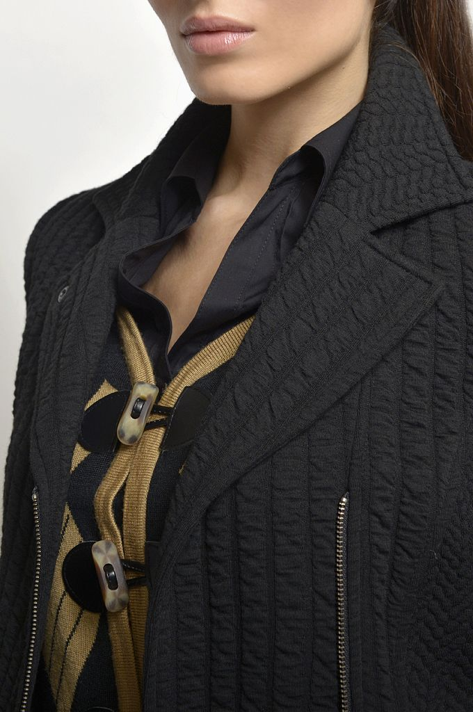 Textured cowl-neck side zip blazer/ Jacquard knitted cardigan/ Long sleeve cotton shirt/ Slim fit city pant.