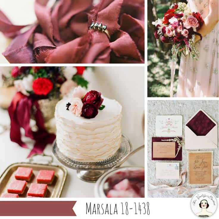Marsala Inspiration Board Top 10 Wedding Colours for Spring 2015 from Pantone