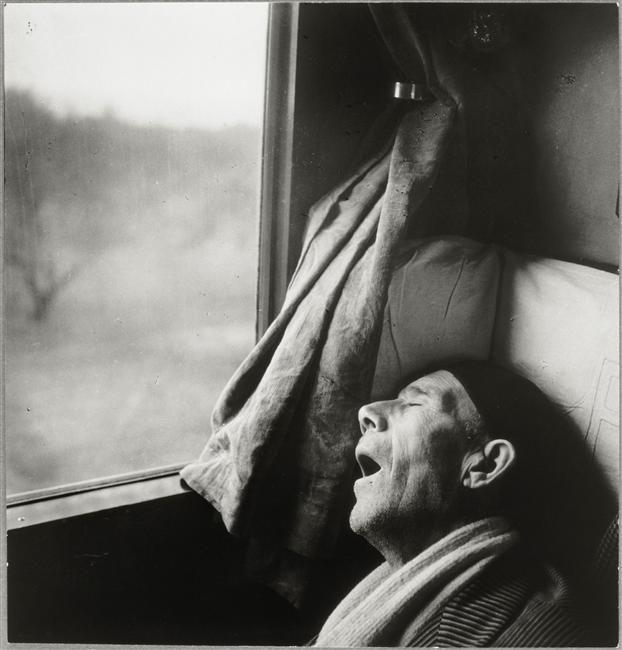 by Brassaï, Roma-Naples Express, Sleeping Man, 1955